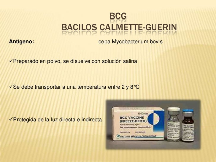 BCG                      BACILOS CALMETTE-GUERINAntígeno:                             cepa Mycobacterium bovisPreparado e...