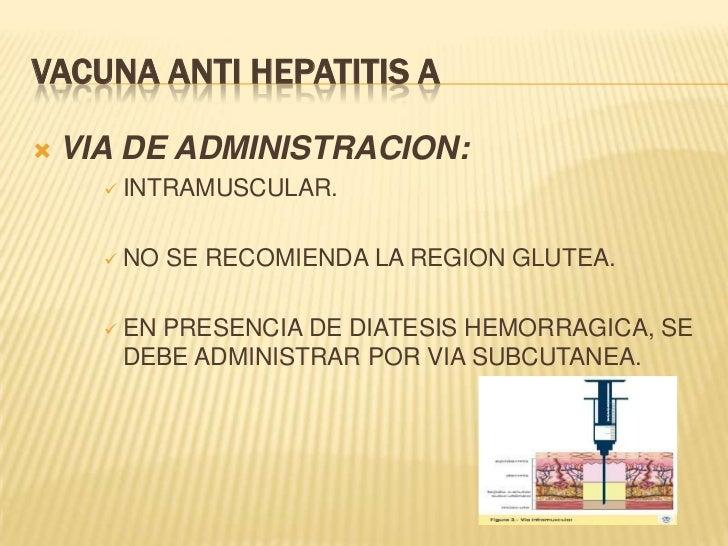 VACUNA ANTI HEPATITIS A   VIA DE ADMINISTRACION:       INTRAMUSCULAR.       NO   SE RECOMIENDA LA REGION GLUTEA.      ...