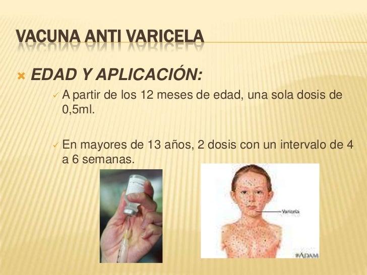 VACUNA ANTI VARICELA   EDAD Y APLICACIÓN:      A partir de los 12 meses de edad, una sola dosis de       0,5ml.       E...