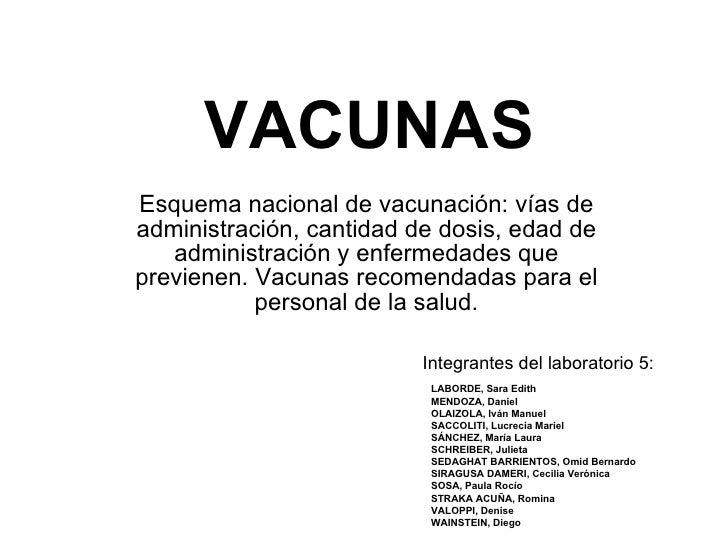 VACUNAS Esquema nacional de vacunación: vías de administración, cantidad de dosis, edad de administración y enfermedades q...
