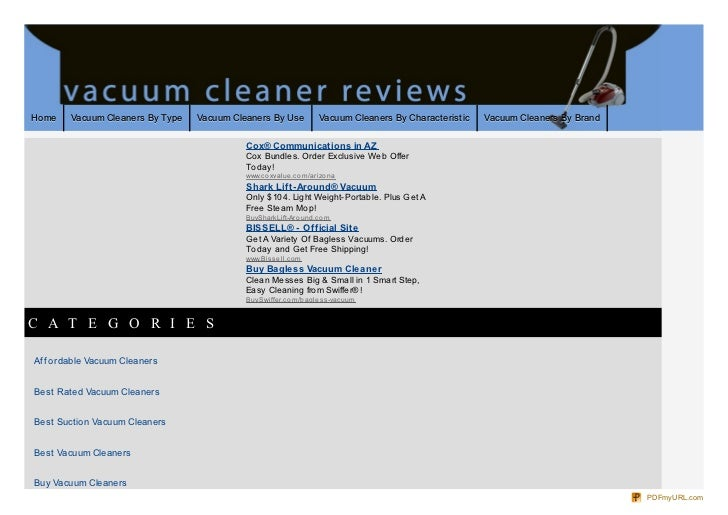 Home    Vacuum Cleaners By Type   Vacuum Cleaners By Use              Vacuum Cleaners By Characteristic   Vacuum Cleaners ...