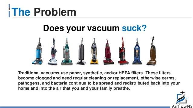 The Problem Traditional vacuums use paper, synthetic, and/or HEPA filters. These filters become clogged and need regular c...