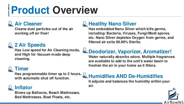 Product Overview Air Cleaner Cleans dust particles out of the air working off air flow! 2 Air Speeds Has Low speed for Air...