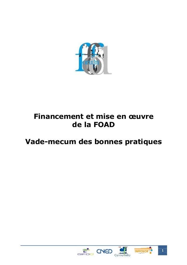 1 Financement et mise en œuvre de la FOAD Vade-mecum des bonnes pratiques