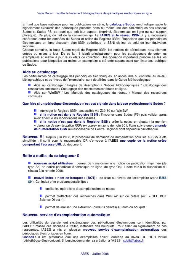 Vade Mecum : faciliter le traitement bibliographique des périodiques électroniques en ligne En tant que base nationale pou...