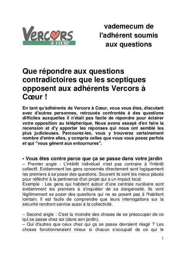 1 vademecum de l'adhérent soumis aux questions Que répondre aux questions contradictoires que les sceptiques opposent aux ...