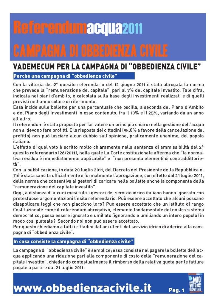 """VADEMECUM PER LA CAMPAGNA DI """"OBBEDIENZA CIVILE""""Perché una campagna di """"obbedienza civile""""Con la vittoria del 2° quesito r..."""