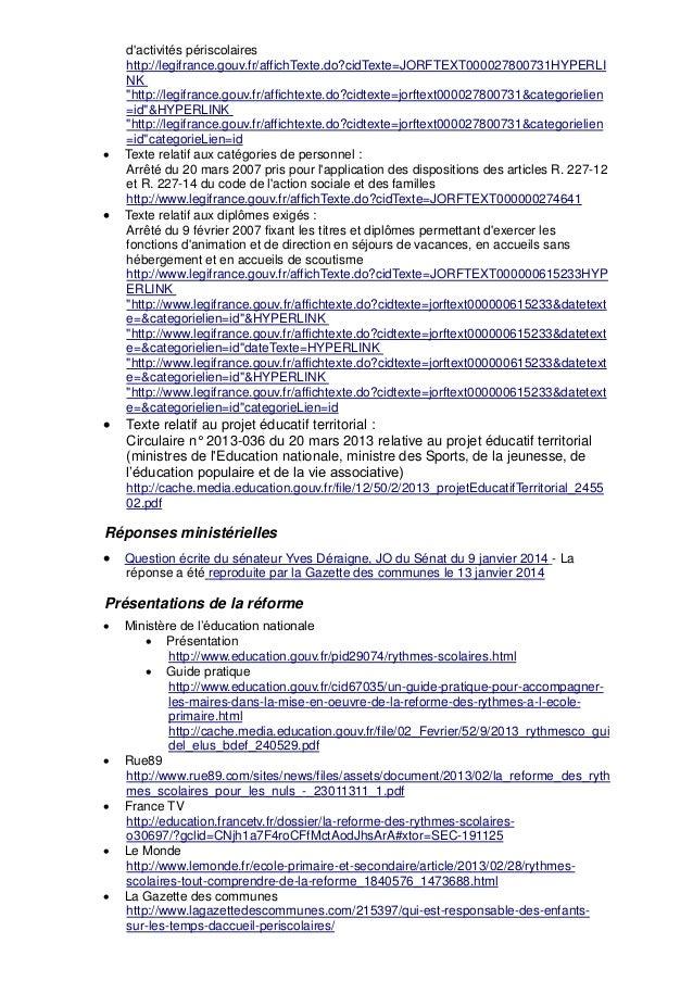 """d'activités périscolaires http://legifrance.gouv.fr/affichTexte.do?cidTexte=JORFTEXT000027800731HYPERLI NK """"http://legifra..."""