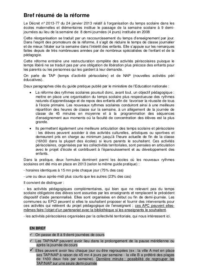 Bref résumé de la réforme Le Décret n° 2013-77 du 24 janvier 2013 relatif à l'organisation du temps scolaire dans les écol...