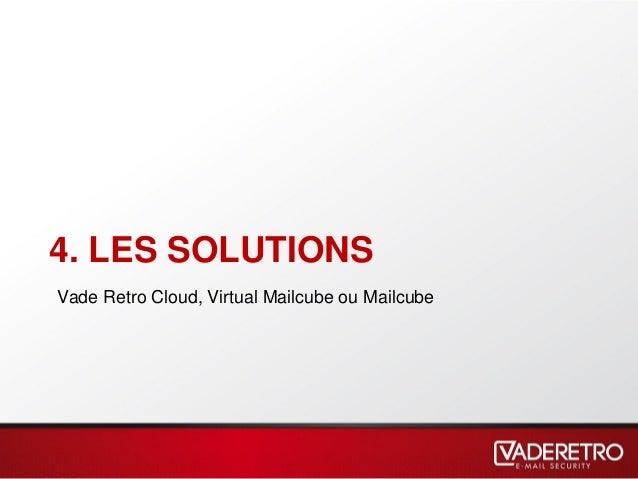 4. LES SOLUTIONS Vade Retro Cloud, Virtual Mailcube ou Mailcube