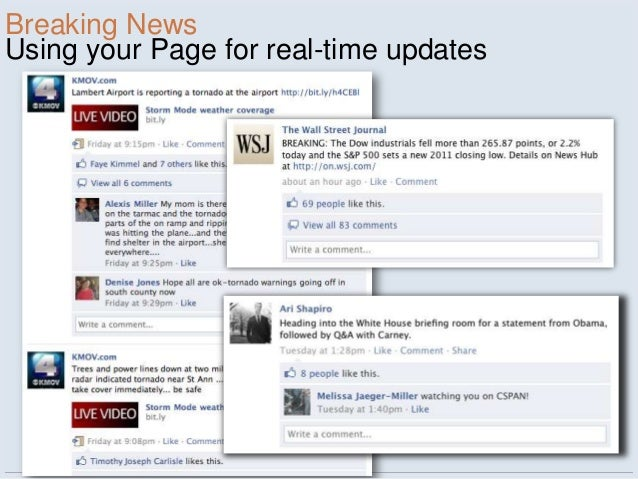 Breaking NewsUsing your Page for real-time updates