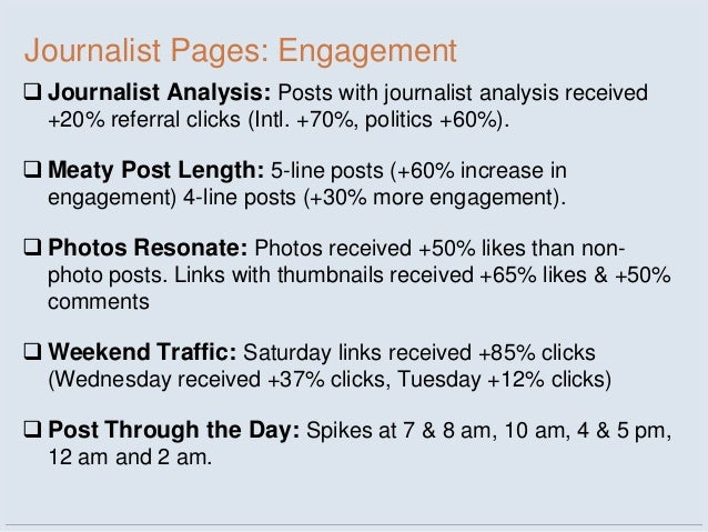 Journalist Pages: Engagement Journalist Analysis: Posts with journalist analysis received  +20% referral clicks (Intl. +7...