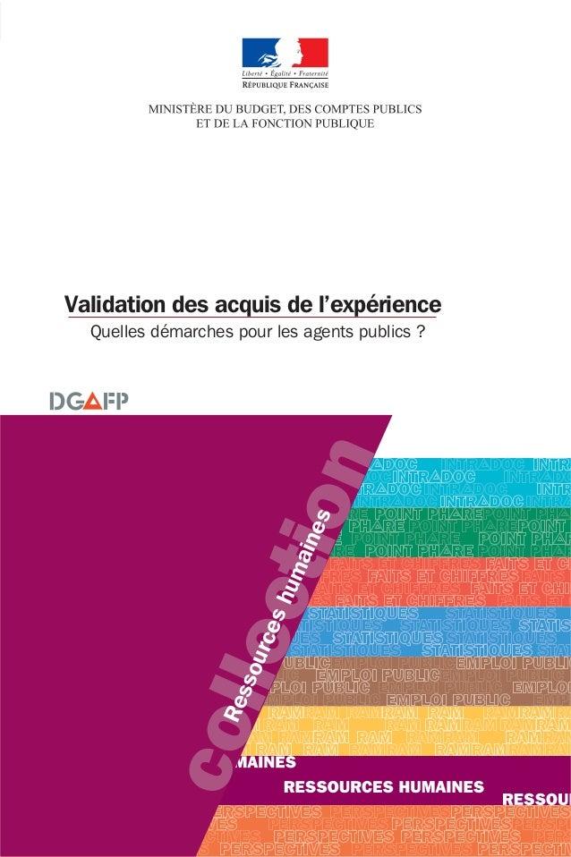 collection Ressourceshumaines Validation des acquis de l'expérience Quelles démarches pour les agents publics ?