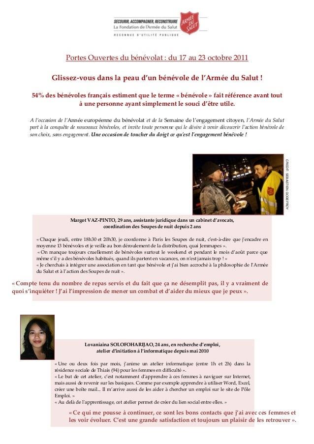 Portes Ouvertes du bénévolat : du 17 au 23 octobre 2011                Glissez-vous dans la peau d'un bénévole de l'Armée ...
