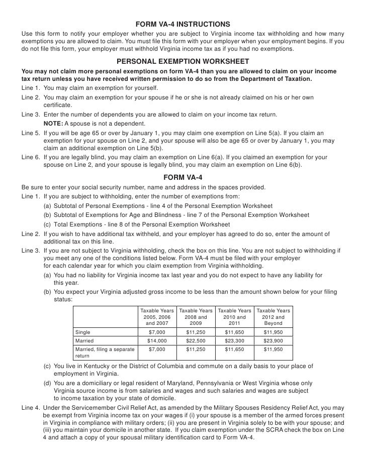 Va Form Va 4 – Exemption Worksheet