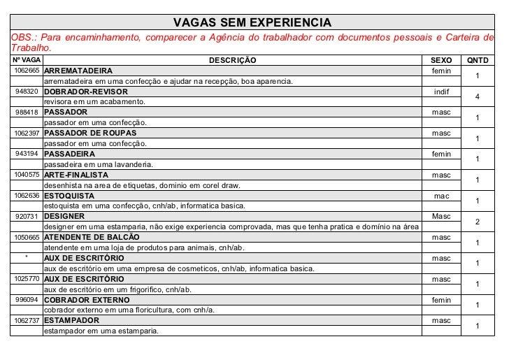 VAGAS SEM EXPERIENCIAOBS.: Para encaminhamento, comparecer a Agência do trabalhador com documentos pessoais e Carteira deT...