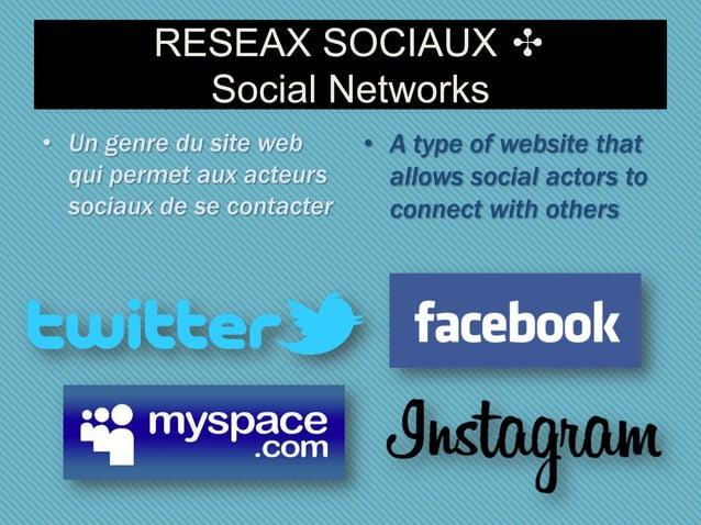 RESEAX SOCIAUX ✣ Social Networks • Un genre du site web qui permet aux acteurs sociaux de se contacter • A type of website...