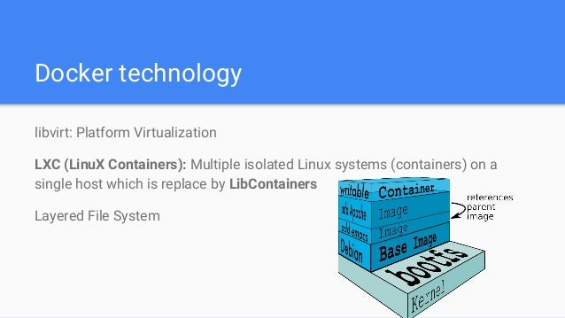 Docker technology libvirt: Platform Virtualization LXC (LinuX Containers): Multiple isolated Linux systems (containers) on...
