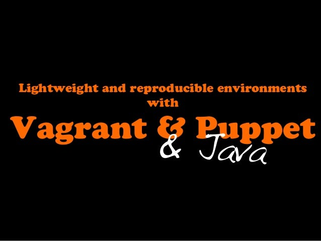 Lightweight and reproducible environments                  withVagrant & Puppet                   & Java