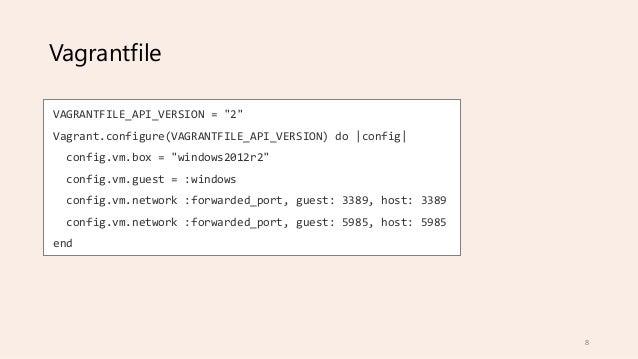 "Vagrantfile VAGRANTFILE_API_VERSION = ""2"" Vagrant.configure(VAGRANTFILE_API_VERSION) do |config| config.vm.box = ""windows2..."