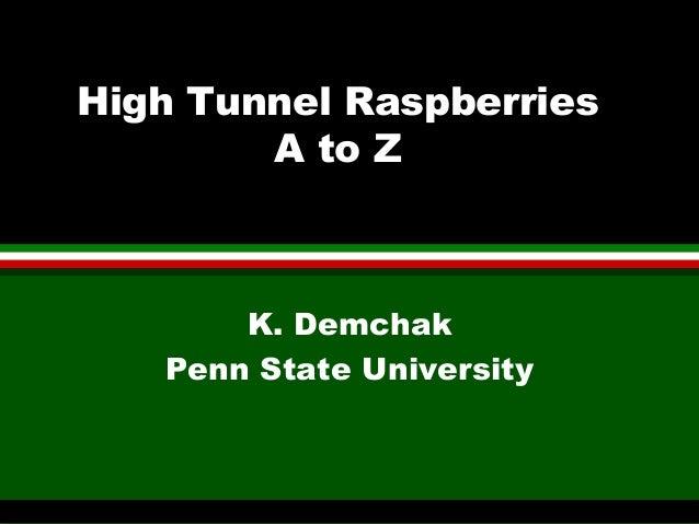High Tunnel Raspberries        A to Z       K. Demchak   Penn State University