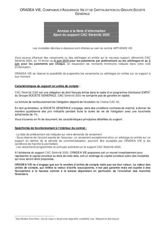 ORADEA VIE, COMPAGNIE D'ASSURANCE VIE ET DE CAPITALISATION DU GROUPE SOCIÉTÉ GÉNÉRALE Annexe à la Note d'information Ajout...