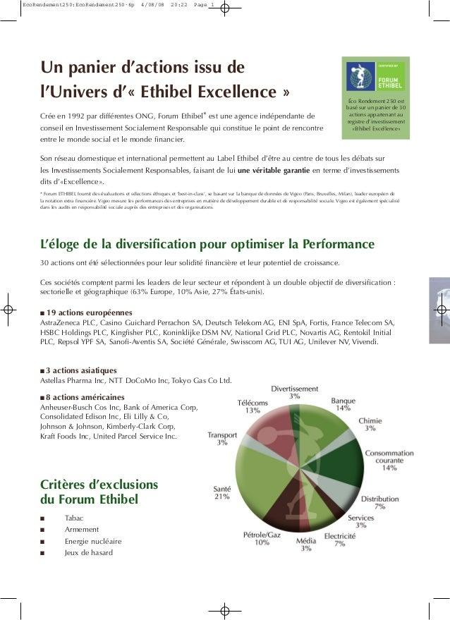 Éco Rendement 250 est basé sur un panier de 30 actions appartenant au registre d'investissement «Ethibel Excellence» Un pa...