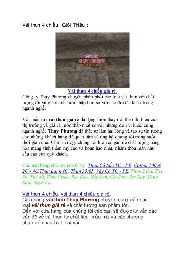 Vải thun 4 chiều   Giới Thiệu : Vải thun 4 chiều giá rẻ Công ty Thụy Phương chuyên phân phối các loại vải thun với chất lư...