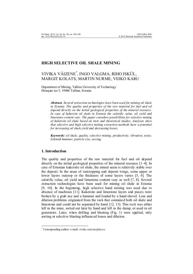 Oil Shale, 2013, Vol. 30, No. 2S, pp. 305–325 doi: 10.3176/oil.2013.2S.10  ISSN 0208-189X © 2013 Estonian Academy Publishe...