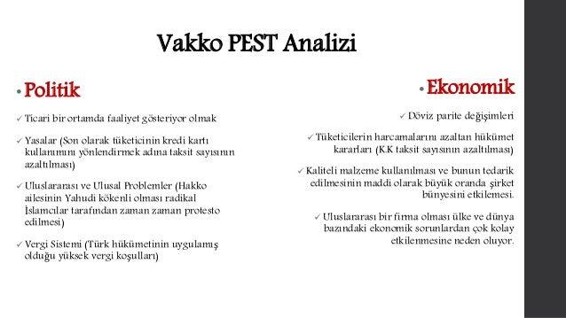 Vakko PEST Analizi  • Politik   Ticari bir ortamda faaliyet gösteriyor olmak   Yasalar (Son olarak tüketicinin kredi kar...