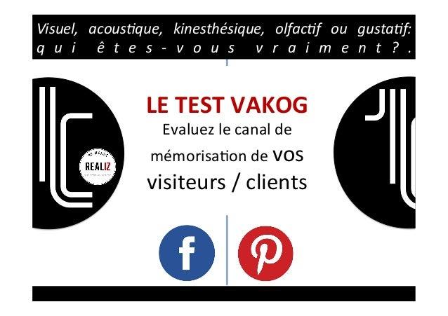 LETESTVAKOG Evaluezlecanalde mémorisa2ondevos visiteurs/clients Visuel, acous,que, kinesthésique, olfac,f...