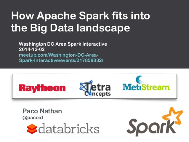 How Apache Spark fits into  the Big Data landscape  Washington DC Area Spark Interactive  2014-12-02  meetup.com/Washingto...