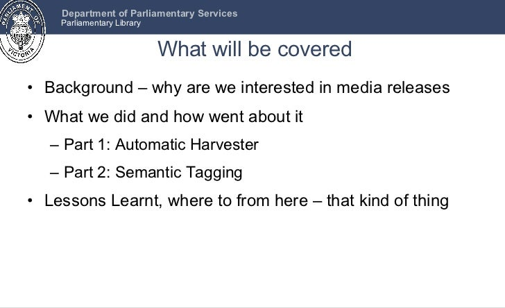 What will be covered <ul><li>Background – why are we interested in media releases </li></ul><ul><li>What we did and how we...