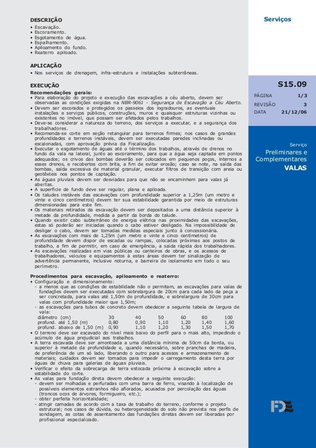 REVISÃO PÁGINA Serviço Preliminares e Complementares VALAS 3 21/12/06DATA Serviços 1/3 S15.09 DESCRIÇÃO • Escavação. • Esc...