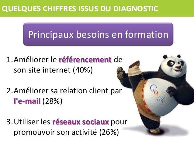 QUELQUES CHIFFRES ISSUS DU DIAGNOSTIC  Principaux besoins en formation 1.Améliorer le référencement de son site internet (...