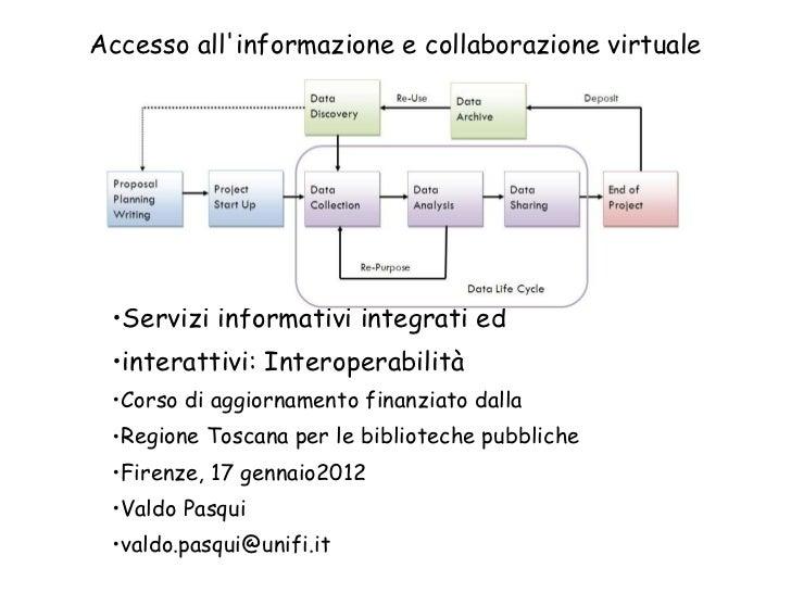 Accesso all'informazione e collaborazione virtuale <ul><li>Servizi informativi integrati ed </li></ul><ul><li>interattivi:...