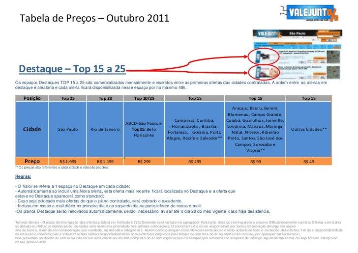 Tabela de Preços – Outubro 2011  Destaque – Top 15 a 25Os espaços Destaques TOP 15 a 25 são comercializados mensalmente e ...
