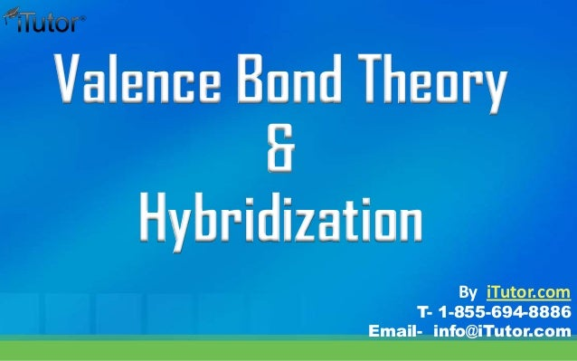 Valence Bond Theory & Hybridization T- 1-855-694-8886 Email- info@iTutor.com By iTutor.com