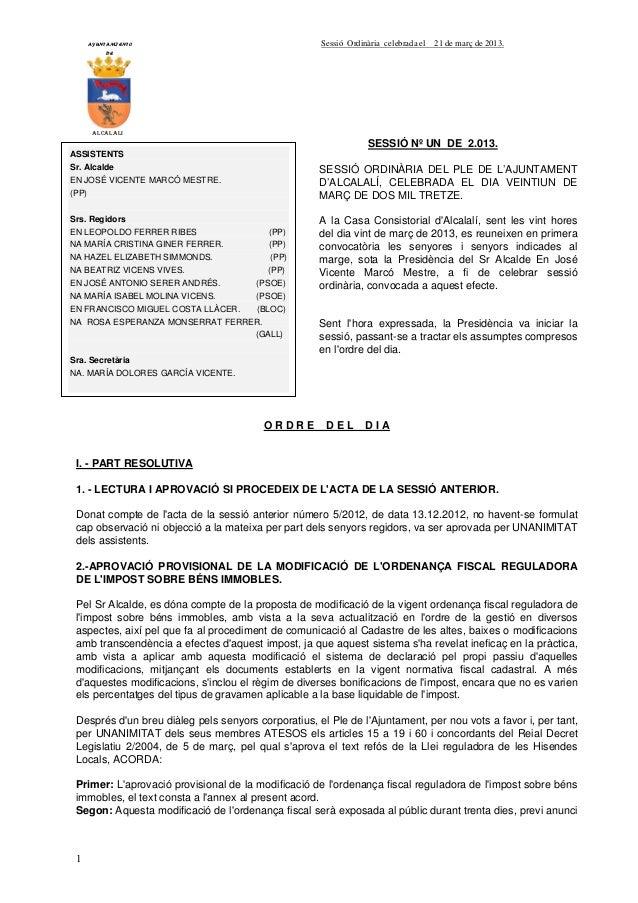 AYUNTAMIENTO                                  Sessió Ordinària celebrada el   21 de març de 2013.           DE        ALCA...
