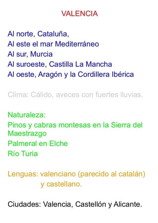 VALENCIA Al norte, Cataluña, Al este el mar Mediterráneo Al sur, Murcia Al suroeste, Castilla La Mancha Al oeste, Aragón y...