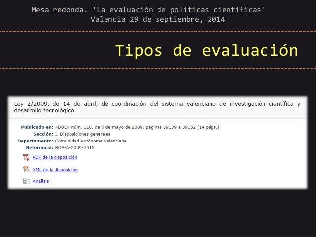 Tipos de evaluación  Mesa redonda. 'La evaluación de políticas científicas' Valencia 29 de septiembre, 2014