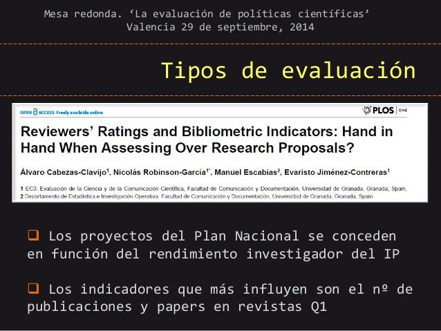 Tipos de evaluación  Mesa redonda. 'La evaluación de políticas científicas' Valencia 29 de septiembre, 2014   Los proyect...