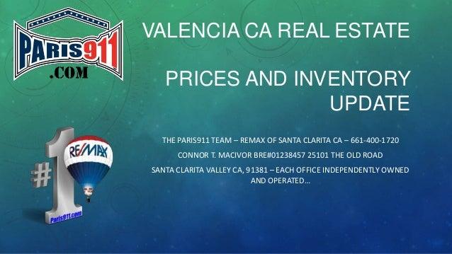 VALENCIA CA REAL ESTATE PRICES AND INVENTORY UPDATE THE PARIS911 TEAM – REMAX OF SANTA CLARITA CA – 661-400-1720 CONNOR T....