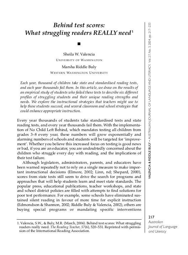 217AustralianJournal of Languageand LiteracyVALENCIA&RIDDLEBULY•AUSTRALIANJOURNALOFLANGUAGEANDLITERACY,Vol.27,No.3,2004,pp...