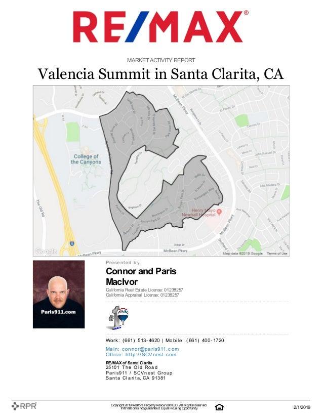 Connor and Paris MacIvor MARKETACTIVITY REPORT Valencia Summit in Santa Clarita, CA P| r| e| s| e| n| t| e| d| | b| y Cali...
