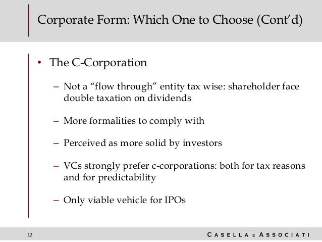 """12 Corporate Form: Which One to Choose (Cont'd) • The C-Corporation – Not a """"flow through"""" entity tax wise: shareholder fa..."""
