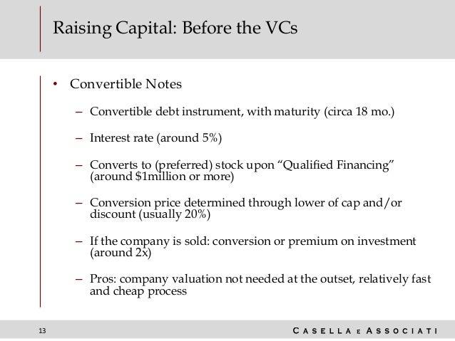 13 Raising Capital: Before the VCs • Convertible Notes – Convertible debt instrument, with maturity (circa 18 mo.) – Inter...