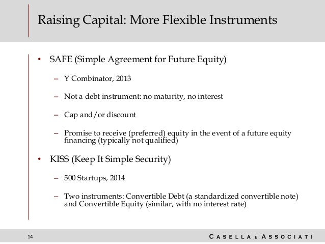 14 Raising Capital: More Flexible Instruments • SAFE (Simple Agreement for Future Equity) – Y Combinator, 2013 – Not a deb...