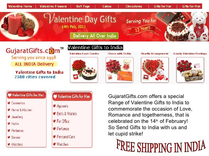FREE SHIPPING IN INDIA GujaratGifts.com offers a special Range of Valentine Gifts to India to commemorate the occasion of ...