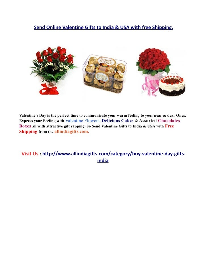 Send Online Valentine Gifts to India & USA with free Shipping